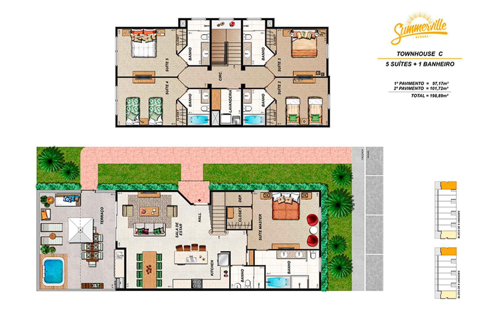 Summerville resort casas 5 4 e 3 quartos em kissimmee fl for Casa de tres plantas sylvanian